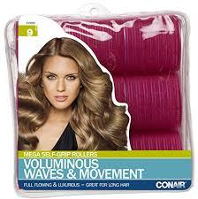 large hair conair mega self holding rollers 9 count hair