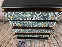 upcycled vintage retro chest of drawers with palm print u2013 studio27