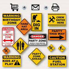 themed signs construction birthday party signs party signs by surpriseinc