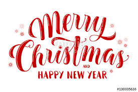 merry christmas and happy new year text lettering for greeting