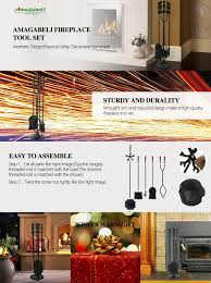 amazon com 5 pieces fireplace tools tool set wrought iron fireset