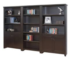 Wall Bookcases With Doors Martin Furniture Tribeca Loft Black Library Bookcase