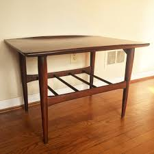 modern walnut coffee table vintage mcm end tables bassett artisan collection epoch