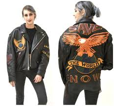 leather biker jackets for sale vintage black leather motorcycle jacket eagle bird large xl