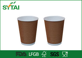 biodegradable ripple paper cups 12oz insulated paper coffee cups