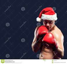 christmas fitness boxer wearing santa hat boxing stock photo