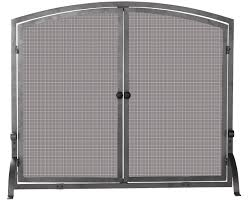 agreeable arched fireplace screen with black two door chrome