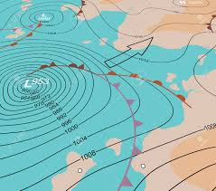 Weather Fronts Map Editable Vector Illustration Of An Angled Generic Weather Map