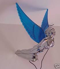 ornament flying blue winged chrome plastic
