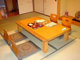 traditional japanese dinner table minimalist home interior decor high gloss orange wood finished