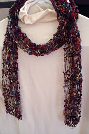 trellis ladder yarn necklace instructions pattern for knit necklace scarf of ladder ribbon yarn with