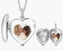 personalized photo locket necklace heart personalized engravable photo locket necklace 925 sterling
