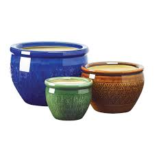 glazed ceramic pots amazon com gifts decor jewel tone flower pot trio embossed