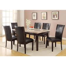 homelegance hahn 5pc marble top dining table set in espresso