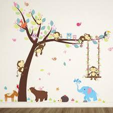 Owl Nursery Wall Decals by Amazon Com Elecmotive Cartoon Forest Animal Monkey Owls Fox