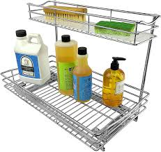 kitchen sink cabinet caddy lynk professional sink cabinet organizer pull out two tier sliding shelf 11 5wx 18d x 14h inch chrome