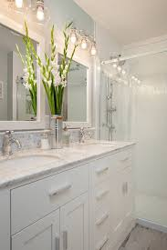 Lighting Ideas For Bathrooms Small Bathroom With White Cabinets Two White Sinks White