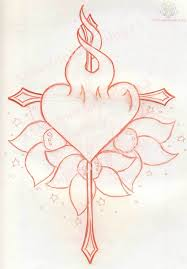 heart and arrow tattoo designs arrow cross and burning heart