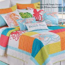 Coastal Themed Bedding Tropic Escape Bright Coastal Beach Quilt Bedding