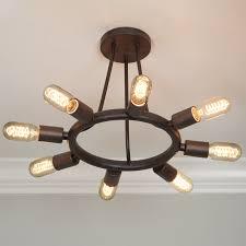 Exposed Bulb Chandelier Industrial Exposed Bulb Chandelier Medium Shades Of Light