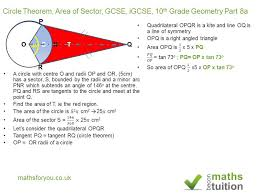 circle theorem area of sector gcse igcse 10th grade geometry