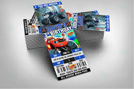 sports ticket invitation blaze and the monster machines cartoon ticket style invites