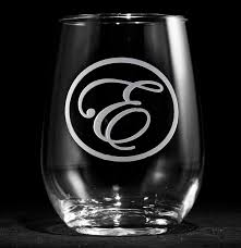 custom script initial stemless wine glasses features