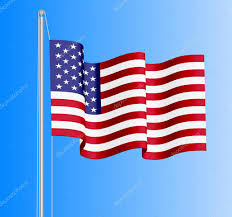 1876 American Flag Waving Usa Flag On Azure Sky Background U2014 Stock Vector Ryzhi