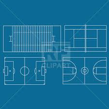 soccer basketball american football and tennis fields vector