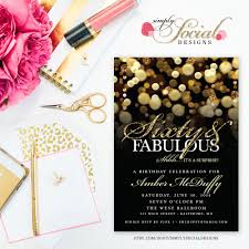 surprise 60th birthday party invitation with gold glitter bokeh