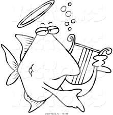 fish outline coloring page vector of a cartoon angelfish playing a lyre coloring page