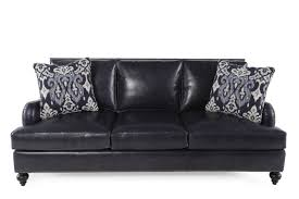Navy Leather Sofa by Bernhardt Beckford Leather Sofa Mathis Brothers Furniture