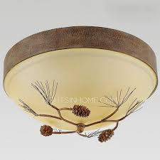 Rustic Ceiling Light Fixture Rustic 3 Light Glass Shade Pine Cone Light Fixtures Ceiling