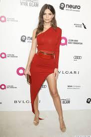 emily ratajkowski one sleeve red cocktail party dress 2016 oscar
