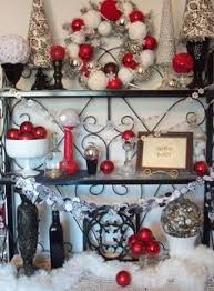 christmas mantel decorations in red white silver and gold