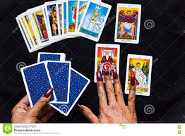 open the tarot cards in halloween night stock photo image 79622066