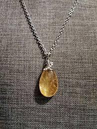 quartz gemstone necklace images Golden rutialated quartz gemstone teardrop stainless steel wire jpg