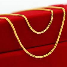 red chain link necklace images Fine au750 real 18k yellow gold chain women wheat link necklace jpg