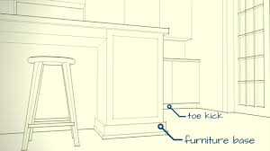 kitchen cabinet baseboards cabinets toe kick versus furniture base open door