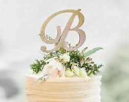 wedding cake toppers initials monogram cake topper etsy