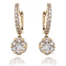 drop earrings gold brilliant cut diamond cluster drop earrings 0 85ct diamond