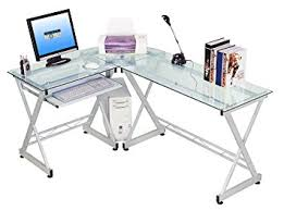 Computer Desk Amazon by Amazon Com Tempered Glass L Shape Corner Desk With Pull Out