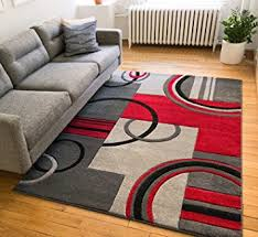 Area Rugs With Circles Amazon Com Echo Shapes U0026 Circles Red Grey Modern Geometric