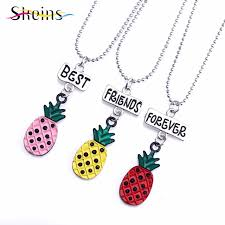 best friends friendship necklace images Skeins best friends enamel cute pineapple pendant strawberry women jpg