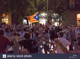 Dancing Flags Catalans Dancing Their Traditional Sardana With The Flag Of The