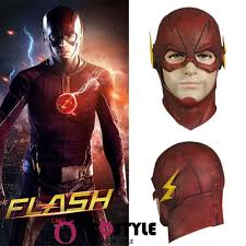 the flash allen cosplay helmet halloween full face latex mask