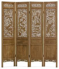 hand carved cedar wood peacocks motif intaglio floor screen