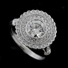 platinum art deco flower halo pave diamond engagement ring setting
