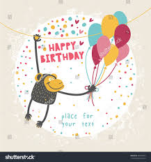 happy birthday card funny monkey balloon stock vector 304919633