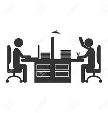 icone de bureau appartement bureau icône travailleur avion en papier isolé sur fond